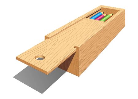 Wooden pencil case with a retractable lid. Vector isolated illustration on white background with shadow.
