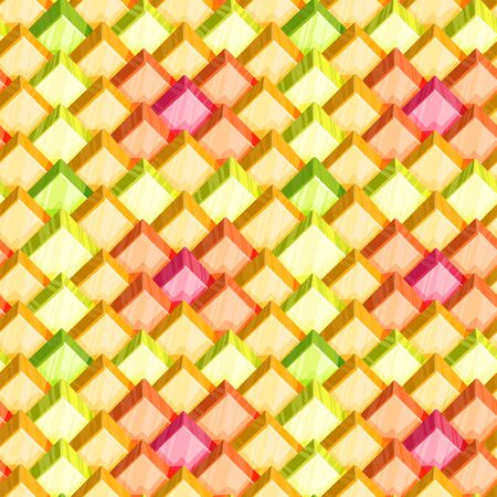 Seamless abstract vector pattern of square crystal tiles of orange, yellow, pink and green shades  イラスト・ベクター素材