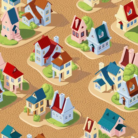 Seamless vector pattern in the form of streets of the old city with houses and pavements, in isometric view