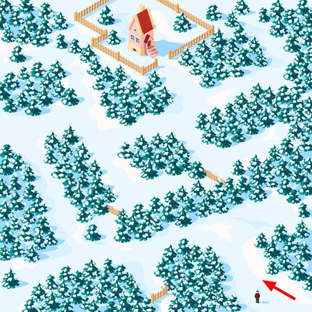 Help the boy find the way to the house in the winter forest. Childrens game riddle maze.