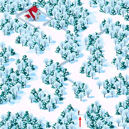 Help the person find the way to the house through the winter mixed forest. Childrens game riddle maze, vector illustration.