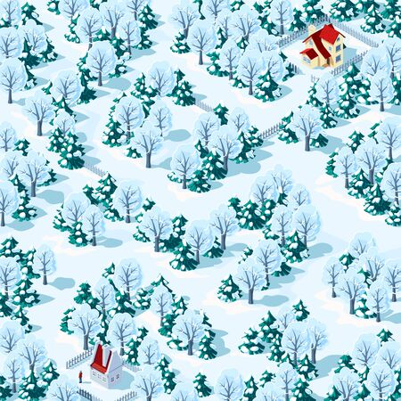 Help the person find the way from one house to another in the winter forest. Childrens game riddle maze, vector illustration. Иллюстрация