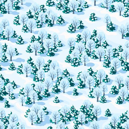 Seamless vector landscape of winter mixed forest with coniferous and deciduous trees, isometric view Иллюстрация