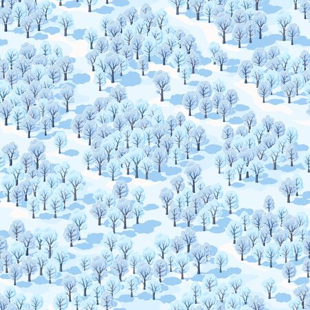 Seamless vector illustration, winter forest landscape with trees covered with hoarfrost. Isometric view. Иллюстрация