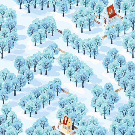 Help the person find the way from his house to the next among the winter trees. Childrens game picture riddle maze.