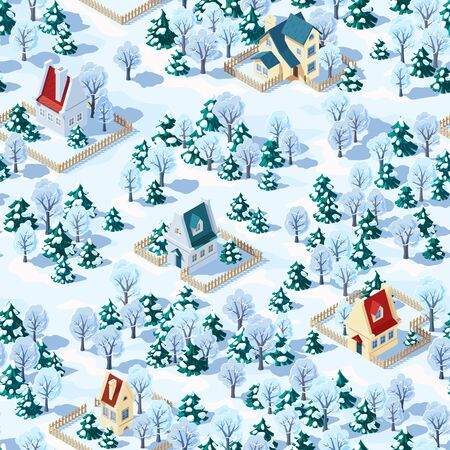 Seamless vector landscape of winter countryside with trees and houses, coniferous and deciduous trees