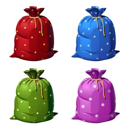 A set of four colored gift bags made of fabric decorated with patterns. Vector isolated illustration on a white background. Иллюстрация