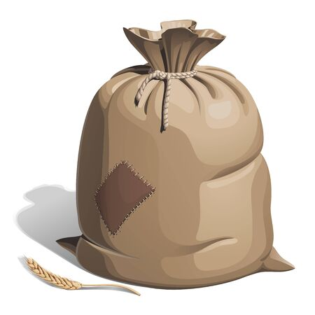 A full canvas bag with flour or grain, tied with a rope at the top, with a patch on its side. Nearby lies a wheat spikelet. Vector illustration with shadow on a white background.