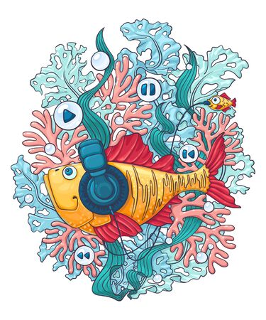 A fish in headphones swims among algae and corals and listens to music. Vector illustration on a white background.