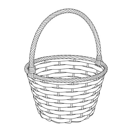 Wicker basket of twigs and bark, black and white vector outline image on a white background Иллюстрация
