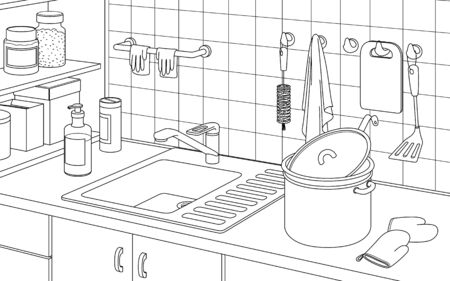 Part of the interior of the kitchen with a sink for washing dishes, a pan, tile and shelves. Black and white contour vector illustration. Illusztráció
