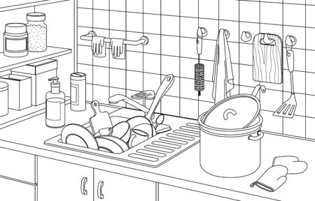 Part of the kitchen interior with a full sink of dirty dishes, a pan, tiles and shelves. Black and white contour