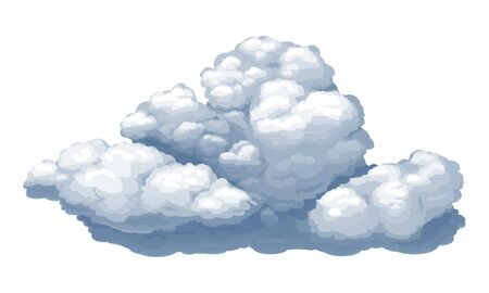 Cartoon vector cumulus cloud isolated on white background