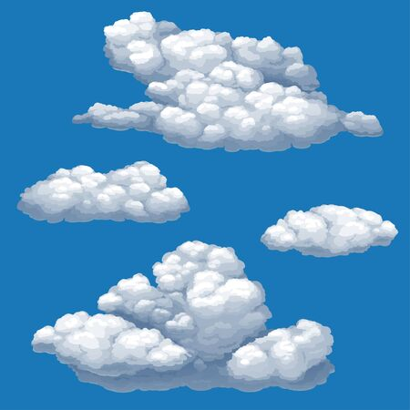 Set of vector isolated images of cumulus clouds on a blue sky background. Vektorgrafik