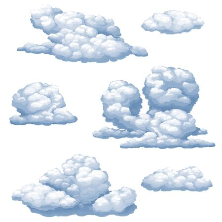 Set of vector isolated images of cumulus clouds on a white background.