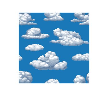 Seamless vector texture of blue sky with white cumulus clouds