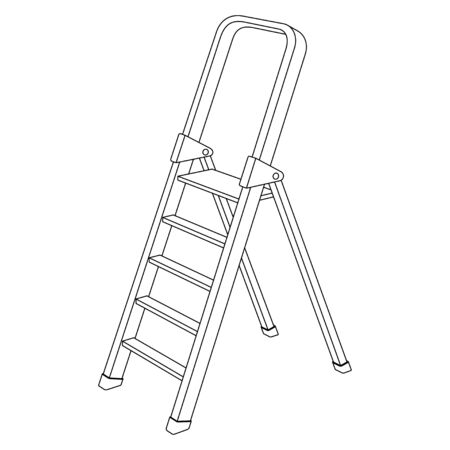 Contour black and white image of a folding ladder, isolated vector illustration on white background.