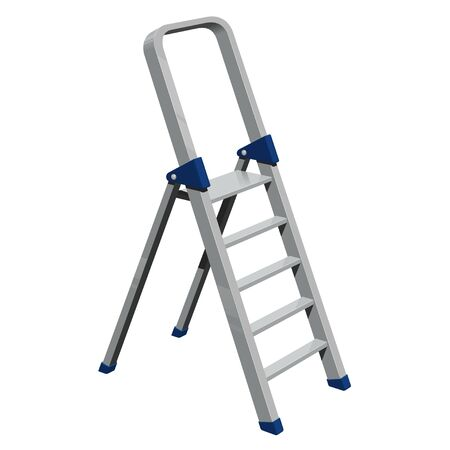 Four-step aluminum folding ladder, vector isolated image on a white background.