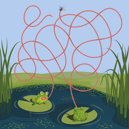 Two frogs tried to catch a mosquito. Guess which of them managed to catch the insect. Children's game picture riddle with a maze