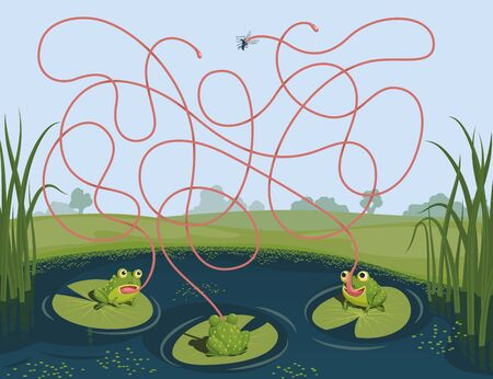 Three frogs tried to catch a mosquito. Guess which of them managed to catch the insect. Children's game picture riddle with a maze