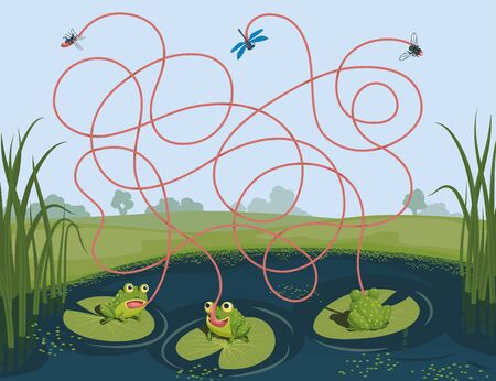 Three frogs caught a mosquito, a fly and a dragonfly. Guess which of them managed to catch which insect. Children's game picture riddle with a maze