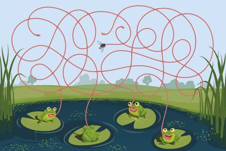 Four frogs tried to catch a mosquito. Guess which of them managed to catch the insect. Children's game picture riddle with a maze Vectores