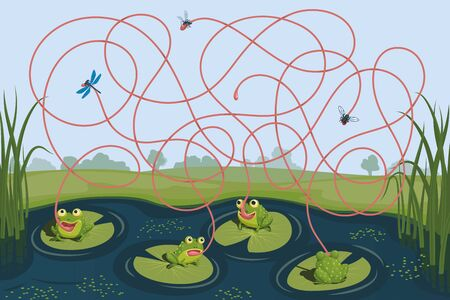 Four frogs caught a mosquito, a fly and a dragonfly. Guess which of them failed to catch the insect. Children's game picture riddle with a maze