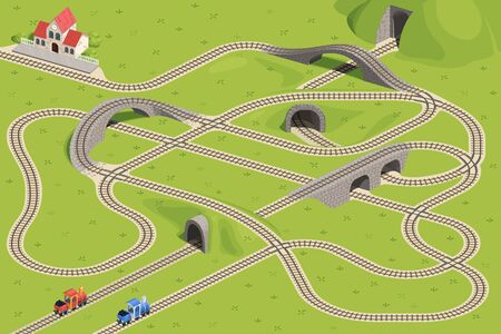 Two trains travel on intersecting rails. Guess which train will arrive at the station. Children's game riddle picture.
