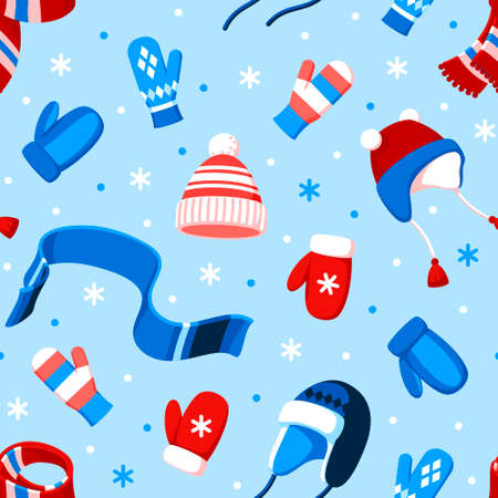 Seamless vector pattern of winter hats, mittens, scarves and snowflakes on a light blue background.