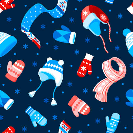 Seamless vector pattern of winter hats, mittens, scarves and snowflakes on a dark blue background.
