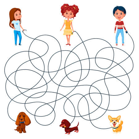 Three children walk the dogs on leashes. Guess where is whose dog is? Children's picture puzzle with tangled lines.