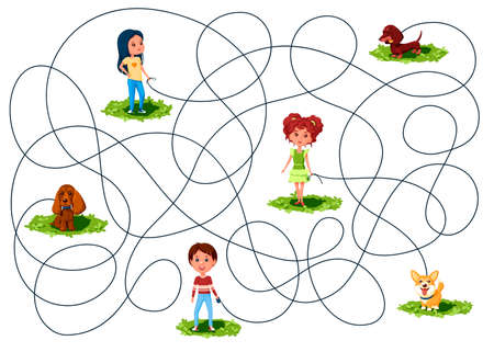 Three children walk on the lawn the dogs on leashes. Guess where is whose dog is? Children's picture puzzle with tangled lines.