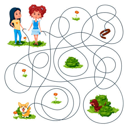 Two girls walked with dogs on leashes. Guess whose dog ran away? Children's picture puzzle with a maze of entangled lines.