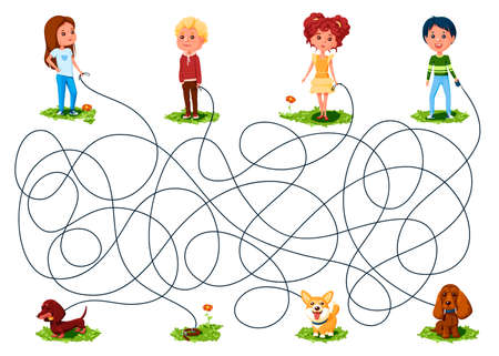Four children walked with dogs on leashes. Guess whose dog ran away? Children's picture puzzle with a maze of entangled lines.