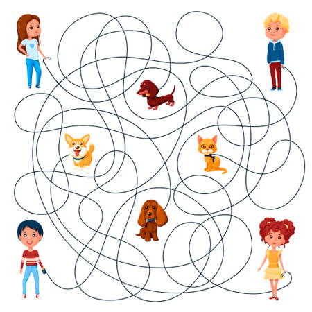 Four children walk with their pets on leashes. Guess which of them is walking the kitten? Children's picture puzzle with a maze of entangled lines.