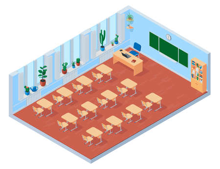 Interior of an empty school class in an isometric view. Vector illustration isolated on white background. 向量圖像