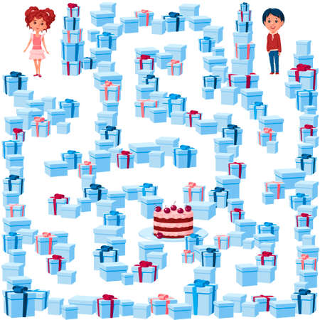 Help the boy and girl find their way to the birthday cake in the maze of holiday gifts. Children's game picture with the task to go through the maze.