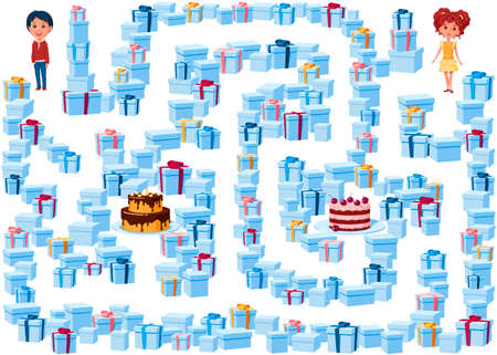 Help the boy and girl find their cakes in the maze of holiday gifts. Who gets which cake? Children's game picture with a labyrinth on a white background. 向量圖像