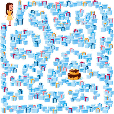 Help the girl find her way to the birthday cake in the maze of gift boxes. Children's picture with a riddle in the maze, puzzle on a white background.
