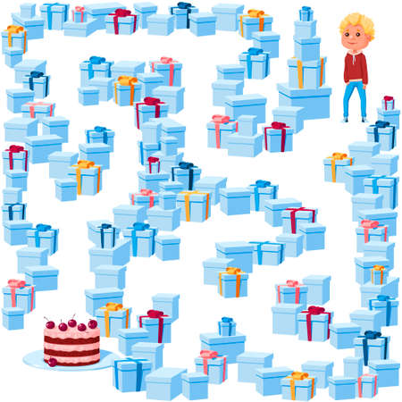 Help the boy find her way to the birthday cake in the maze of gift boxes. Children's picture with a riddle in the maze, puzzle on a white background.