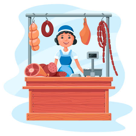 Meat stall, a saleswoman behind a counter made of wooden boards sells sausages, meat and delicacies. Cartoon illustration on a white background. 向量圖像