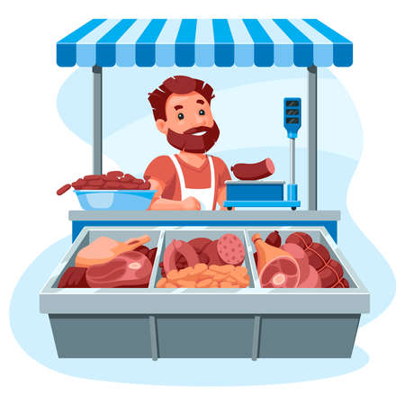Meat stall, a salesman behind a counter sells sausages, meat and delicacies. Cartoon illustration on a white background.