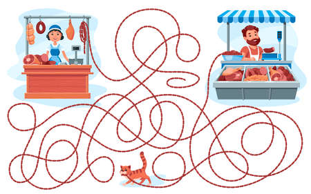 A cat stole sausages from a butcher shop. Guess which seller she got the sausages from? Children's game picture riddle on a white background.
