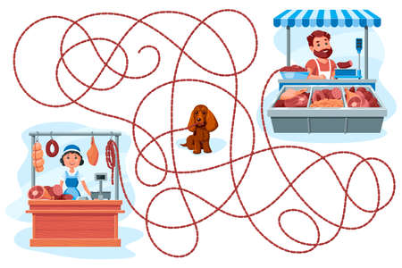 A dog stole sausages from a butcher shop. Guess which seller she got the sausages from? Children's game picture riddle on a white background.