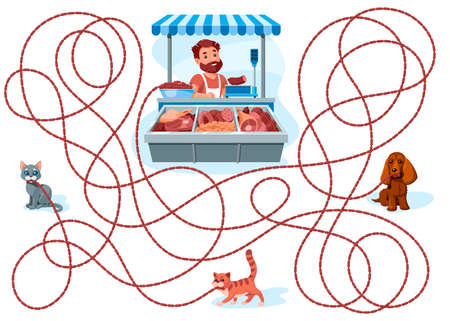 Dog and cats carry sausages. Guess which one of them stole a bunch of sausages from a butcher shop clerk? Children's game picture riddle on a white background. 向量圖像