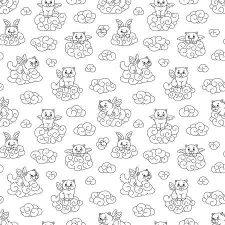 Seamless vector pattern of contour images of winged kittens in the clouds, black and white coloring for children