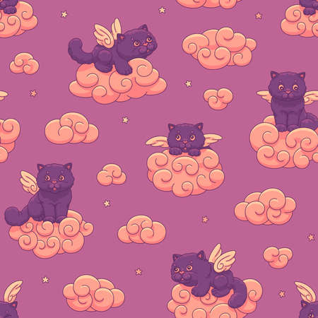 Seamless vector children's pattern of cute lilac winged kittens on the clouds on the background of the sunset sky with stars. 向量圖像
