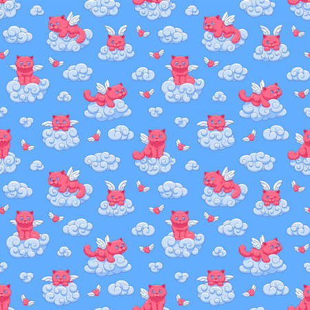 Seamless vector pattern with cute pink winged kittens and hearts on the clouds against the blue sky, cartoon drawing for children.