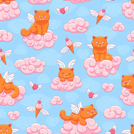 Seamless vector pattern with cute winged kittens, flying hearts and ice cream cones on a background of blue sky and pink clouds. Children's illustration.