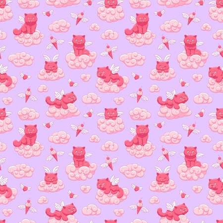 Seamless vector pattern with cute winged kittens, flying hearts and ice cream cones on the background of the sky and pink clouds. Children's illustration.